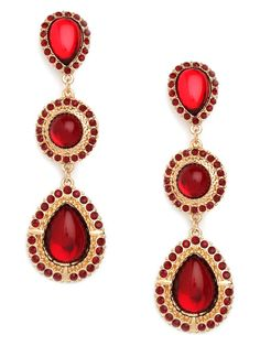 Baroque - one of the key trends for this fall. These ruby Triple Drops are the perfect complement for a little black dress.