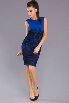 BOUTIQUES :: International Boutiques :: Blush Style :: Blue Black Lace 2 Tone Dress By YNS - Fashionhub Products