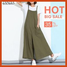 3cf4200f5420 ZANZEA New Summer Rompers Womens Jumpsuits 2018 Sleeveless Straps Pockets  Solid Wide Leg Full Length Overalls