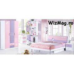 Dormitor Tineret 826 pentru fete Kids Single Beds, Space Saving Dining Table, Purple Bedrooms, Wall Stickers, Decals, Kids Bedroom, Bedroom Wall, Vinyl Art, Hello Kitty