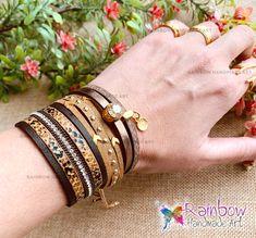 Handmade jewelry and more! Handmade Bracelets, Handmade Jewelry, Handmade Art, Bangles, Gold, Bracelets, Handmade Jewellery, Jewellery Making, Diy Jewelry