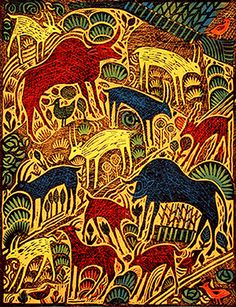 Wild Things a multiblock linocut by Hugh Ribbans.