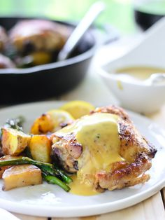 Pan Roasted Chicken, Potatoes & Asparagus with Truffle Honey Mustard Sauce {Sponsored Post – Maille}(Honey Chicken Potatoes) Dijon Chicken, Baked Chicken, Chicken Recipes, Chicken Menu, Roast Chicken, Roasted Chicken And Potatoes, Chicken Asparagus, Paleo Dinner, Dinner Recipes