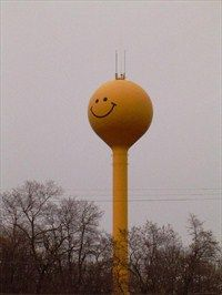 'Smiley Face' water tower in Eagle, Wisconsin