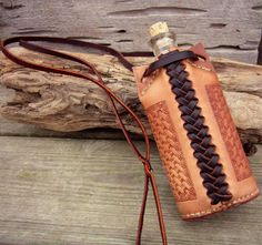 Leather Flask . Leather Wrapped Glass Bottle . Handcrafted Leather Crafts…
