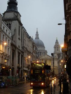 rain, December 21 2009 London, England - Ludgate Hill and St. PaulsLondon, England - Ludgate Hill and St. Places To Travel, Places To See, London Rain, London Dreams, Living In London, Belle Villa, England And Scotland, City Aesthetic, London Life