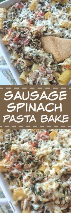 Creamy, cheesy, and bursting with delicious sausage and spinach flavor! This creamy sausage spinach pasta bake is a comfort food meal that the entire family will devour! This is our new favorite pasta bake dish!