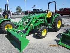 John Deere with loader John Deere Compact Tractors, John Deere Tractors, John Deere Equipment, New Farm, Farm Boys, She Likes, Landscaping, Board, Green