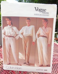 Vogue 1808  Calvin Klein Pants in 3 Styles  American by Clutterina