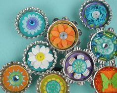 Turn your refrigerator door into a bountiful garden with this Garden of Bottle Caps.  Made with a variety of cute embellishments, this recycled craft is a great way to use up all those bottle caps collecting dust in your craft stash.
