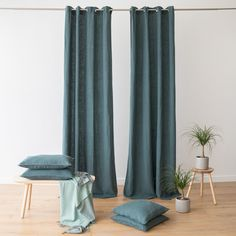 If you know about interiors you'll know that curtains define a room. Our new range of luxury linen curtains are available ready made as well as bespoke, and are the perfect finishing touch for your interior! Blue And Green Curtains, Green Kitchen Curtains, Blue Curtains Living Room, Navy Curtains, Living Room Update, Living Room Inspiration, Table Linens, Elegant, Bespoke