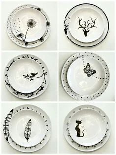 With porcelain pens you can do the best! These 11 beautiful p - Diy images - Sharpie Projects, Sharpie Crafts, Diy Sharpie Mug, Sharpie Plates, Ceramic Plates, Ceramic Pottery, Sharpies, Pottery Painting, Ceramic Painting
