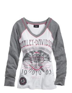 Harley-Davidson Women's Freedom Machine V-Neck Knit Tee. 96282-13VW - Harley-Davidson® Clothing for Women | House of Harley - Harley-Davidson® Apparel for Women | House of Harley - Milwaukee, Wi. - Harley-Davidson® Merchandise, Gear and Apparel | House of Harley - Official Harley-Davidson® Dealers in Milwaukee | House of Harley