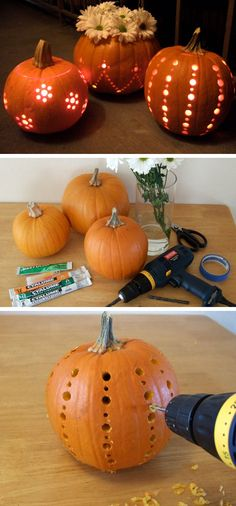 Pumpkins Carved with a Drill | Click Pic for 35 DIY Halloween Crafts for Kids to Make | DIY Halloween Craft Ideas for Kids