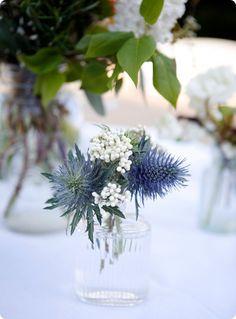 From: Design Sponge / Florals: Garden on the Square / Photography: Belathee / Vintage bottles + jars: The Paris Market and Brocante
