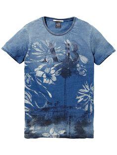 T-shirt indigo avec impressions photo|T-shirt m/c|Habillement Homme Scotch & Soda