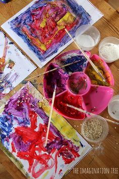 Mixing Textures into Paint so you can feel your artwork! Great for kids who are blind