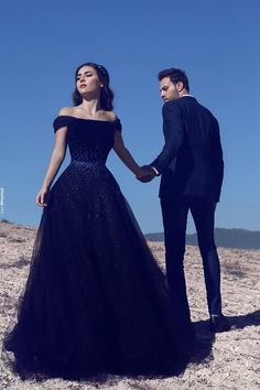 2017 Dark Navy Off-the-Shoulder Glamorous Tulle Beadings A-Line Evening Gowns