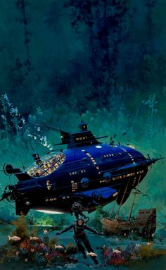Jules Verne, 10,000 Leagues Under the Sea book cover, in Albert Moy's John Conrad Berkey Comic Art Gallery Room