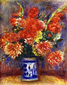 Gladiolas and Dahlias / Pierre Auguste Renoir - 1918