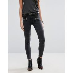 Lovers + Friends Aaron Biker Skinny Jeans ($250) ❤ liked on Polyvore featuring jeans, blue, skinny fit denim jeans, tall jeans, denim skinny jeans, biker style jeans and tall skinny jeans