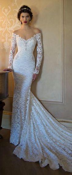 Off shoulder trouwjurk van kant met lange mouwen op maat