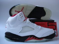 Jordans Shoes Jordan 5 White Black Fire Red [Jordan 5 - Air Jordan 5 White Black Fire Red features an all white leather upper, with the visible air sole unit, red inner lining, and a reflective tongue, as well as the Nike Air logo at the back. Jordan 5, Michael Jordan, Cheap Jordans, Air Jordans, Chameleons For Sale, Jordan Outlet, Wholesale Nike Shoes, Black Fire, Jordan 1 Retro High