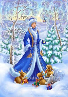 Happy New Year greeting card with Russian Snow Maiden Merry Christmas And Happy New Year, Blue Christmas, Winter Christmas, Christmas Crafts, Christmas Ornaments, Vintage Christmas Cards, Christmas Pictures, Foto Gif, Snow Maiden