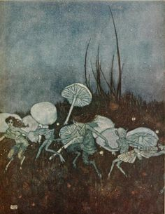 Prospero - 'You demi-puppets that by moonshine do the green sour ringlets make.'  Illustration by EDMUND Dulac for 'The Tempest'   by William Shakespeare. Published 1915 by Hodder and Stoughton