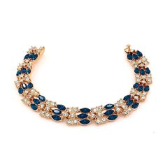 Kemstone Blue Cubic Zirconia Chain Tennis Bracelet Gold Plated Women Party Jewellry,7.29' *** Learn more by visiting the image link. (This is an affiliate link and I receive a commission for the sales)