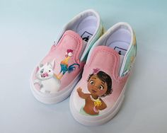 Little Girl Moana Disney Painted Vans  Shanny's Shoes