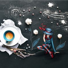 by Cinzia Bolognesi Coffee World, Little's Coffee, Coffee And Books, I Love Coffee, Coffee Cafe, Coffee Drinks, Latte Art, Pause Café, Good Morning Coffee