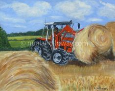 """""""Making Bales"""" by Nuala Holloway - Acrylic on Board. Countryside, Agriculture Farming, Landscape, Board, Artist, Painting, Artists, Paintings, Draw"""