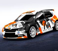Another Skoda on Belgian rally stages, which will be characterized not only by fast driving but also by new colors. Black mat, silver satin and fluo orange enhance a unique, timeless modernist style. Sport Cars, Race Cars, Orange Jeep, Skoda Fabia, Custom Helmets, Drifting Cars, Jeep Gladiator, Team Wear, Helmet Design