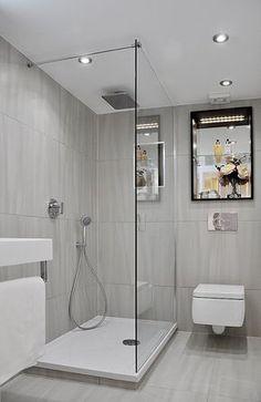 kleines bad dusche graue fliesen matt duscheabtrennung glaswand