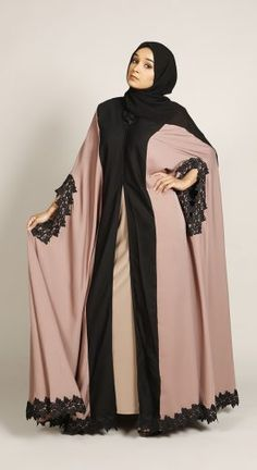 Captivating pink flare Abaya with elegant cape to make you look gorgeous yet modest even on the most casual days out. Islamic Fashion, Muslim Fashion, Modest Fashion, Fashion Outfits, Pakistani Fashion Casual, Abaya Fashion, Abaya Designs Latest, Abaya Designs Dubai, Estilo Abaya
