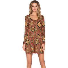 Chaser Long Sleeve Boho Mini Dress Dresses ($140) ❤ liked on Polyvore featuring dresses, cutout dress, cut out mini dress, long sleeve dress, short dresses and short bohemian dresses