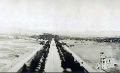 1910s. Paseo de la Reforma en direccion a Chapultepec, la casa que se aprecia esta en pie., solo que es un banco.