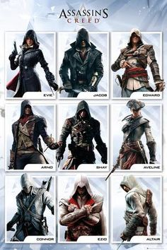 Assassins Creed Compilation Poster Magnetic Notice Board Beech Framed - x 66 cms (Approx 38 x 26 inches) Assassins Creed Cosplay, The Assassin, Assassins Creed Unity, Assassins Creed Black Flag, Assassins Creed Series, Assassins Creed Origins, Assassins Creed Tattoo, All Assassins, Assassin's Creed Brotherhood