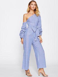 85872078af5 Material  Cotton Color  Blue Pattern Type  Striped Neckline  One Shoulder  Style  Cute