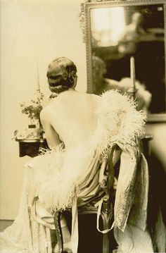 Ziegfeld girl Virginia Snyder at her dressing table.