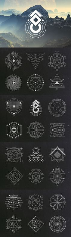 A set of 24 sacred geometry shapes in vector format.