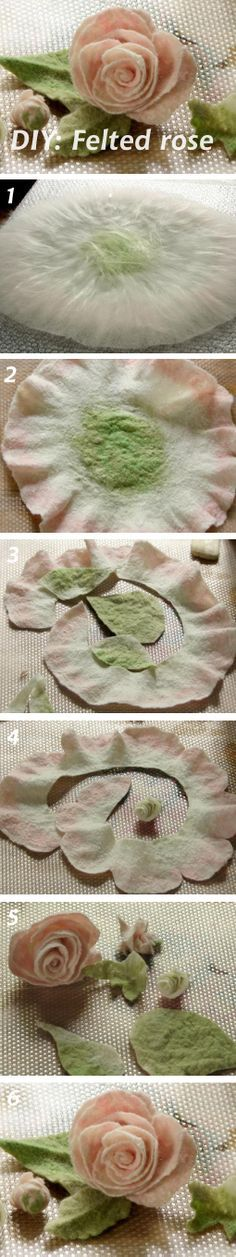 DIY: Felted Rose (Валяем розу из шерсти) See more: http://www.livemaster.ru/topic/594171 #diy #handmade #felting