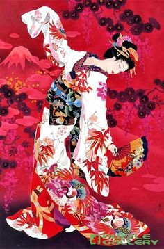 (Japan) Dancing geisha by Haruyo Morita ). Art Geisha, Geisha Kunst, Geisha Drawing, Japanese Prints, Japanese Design, Art Chinois, Art Asiatique, Art Japonais, Japanese Painting