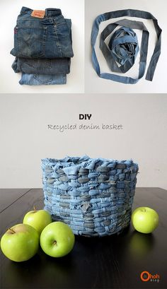 Basket recycling jeans - Diy and Crafts to Upcycled Crafts Denim Crafts, Upcycled Crafts, Jeans Denim, Old Jeans, Jean Diy, Denim Ideas, Recycle Jeans, Denim And Lace, Recycled Denim