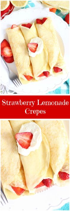 Lemon zested crepes, filled with a lemon Mascarpone and whipped cream filling, topped with fresh strawberries! Use GF flour. Best Dessert Recipes, Easy Desserts, Sweet Recipes, Delicious Desserts, Breakfast Recipes, Yummy Food, Breakfast Club, Lemon Recipes, Churros