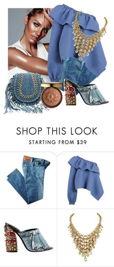 """""""Dressy in jeans"""" by sofiacalo ❤ liked on Polyvore featuring AG Adriano Goldschmied, Rachel Comey, Gucci and Physicians Formula"""