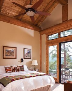 Colorado Handcrafted Post and Beam Home Master Bedroom. Inspired by popular Truckee design concept by PrecisionCraft. Mountain Home Interiors, Log Home Interiors, Home Bedroom, Master Bedroom, Bedroom Decor, Cabin Homes, Log Homes, Home Room Design, House Design