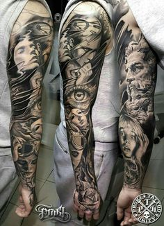 36 Perfect Sleeve Tattoos for Guys With Style Blackwork Full Sleeve Tattoo by Kostas Baronis Proki Tattoos Geometric, Tribal Sleeve Tattoos, Best Sleeve Tattoos, Sleeve Tattoos For Women, Tattoos For Guys, Brust Tattoo, Mythology Tattoos, Black And White Face, Tattoo Videos