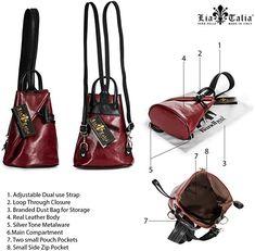 c787634b1f Amazon.com   LiaTalia Italian Leather Backpack Shoulder Bag with Sling  Convertible Strap in Mini